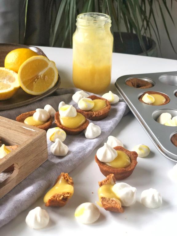 Cookiecups met Lemon Curd en Meringue, Cookiecups, Koekjeskuipjes, lemon curd, citroen